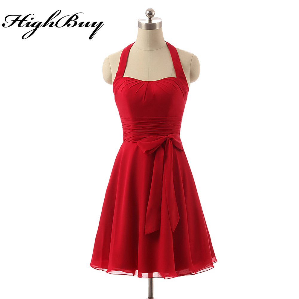Popular halter bridesmaid dresses under 100 buy cheap halter highbuy cheap red mini bridesmaid dresses under 100 2017 vestido madrinha casamento plus size custom made ombrellifo Gallery