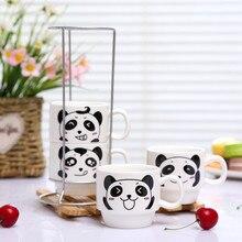 Ceramic cup set coffee with iron frame milk tower cartoon sale b