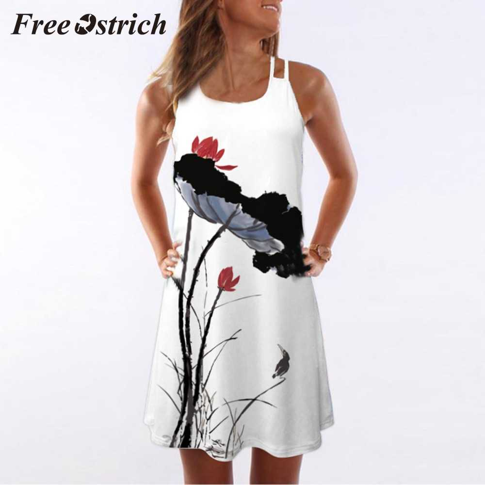 Free Ostrich 2019 Women Loose Summer Vintage Sleeveless 3d Floral Print Bohe Tank Mini Dress Chinese Style Ink Painting Dress