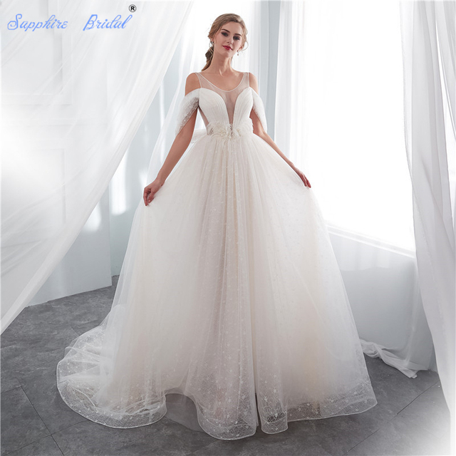 Sapphire Bridal 2019 Beach Bridal Dress Vestido De Noiva Feathers