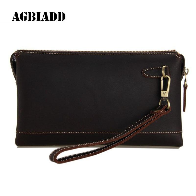 Business Clutch Bag Male Card Holder Wallet Men Wallets Long Purse Solid Brown Clutch Wallets Carteira Masculina 325