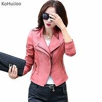 KoHuiJoo Printemps Automne Col montant Femelle Faux Cuir Vestes WomenSim Zipper Slim Plus Taille En Cuir Manteaux Dame M-5XL Rouge Noir