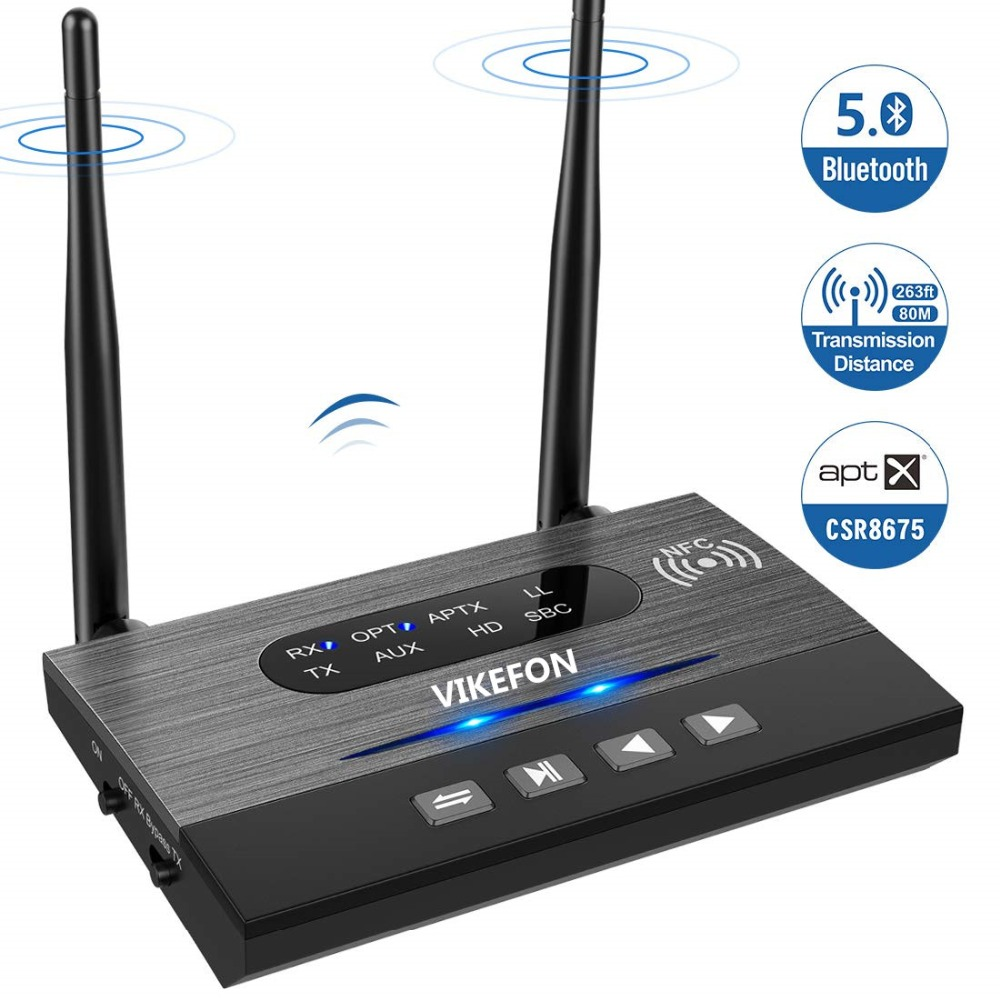 Long Range BYPASS NFC Audio Adapter 328ft Bluetooth 5 0 Transmitter Receiver APTX HD Low Latency