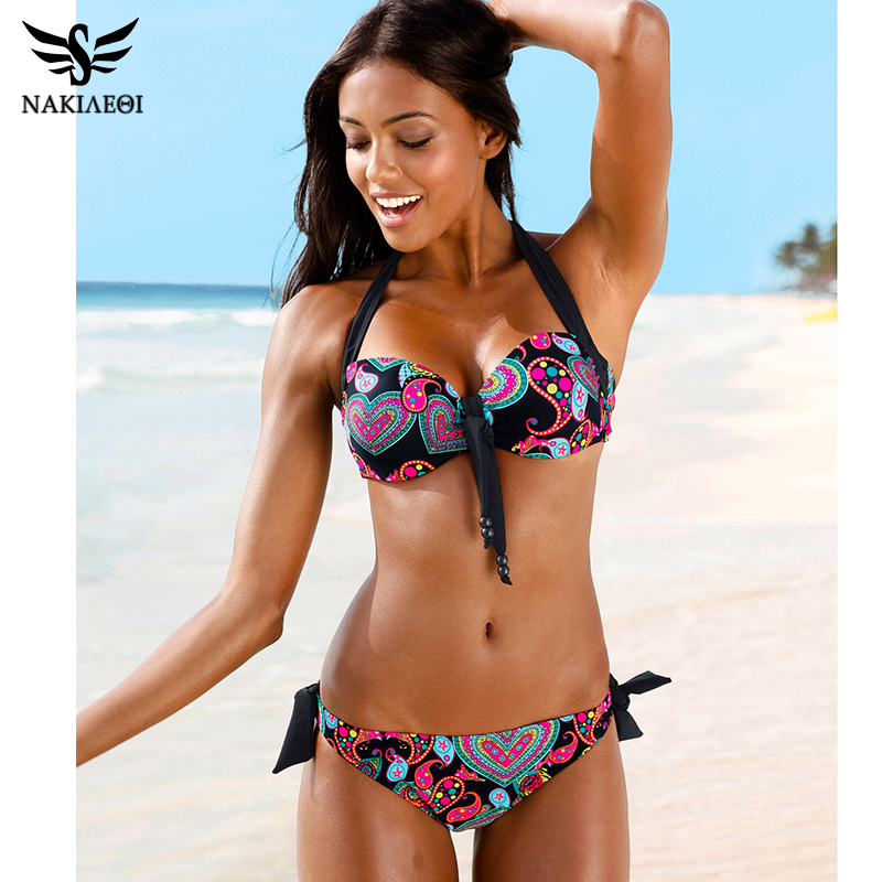 NAKIAEOI Sexy Bikinis Women Swimsuit Push Up Bikini Set 2019 Newest Bathing Suits Halter Summer Beach Wear Plus Size Swimwear