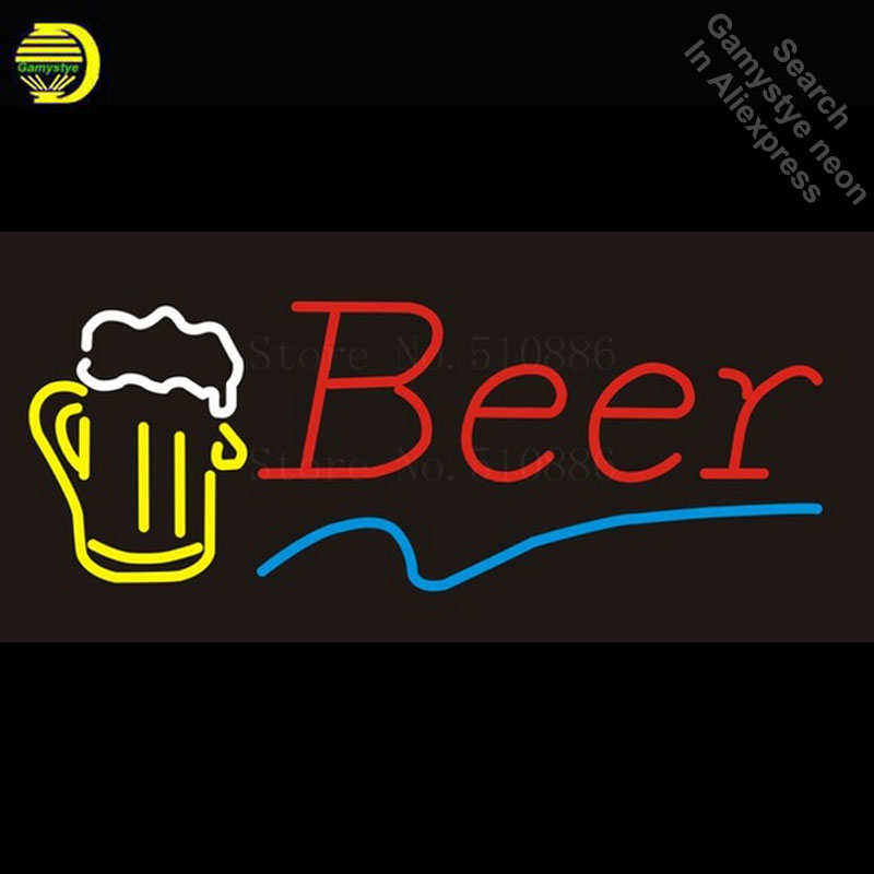 NEON SIGN For Beer Disco Real GLASS Tube BEER BAR PUB Restaurant Signboard store display Decorate Store Shop Light Signs 17*14 creative football bar glass beer cup