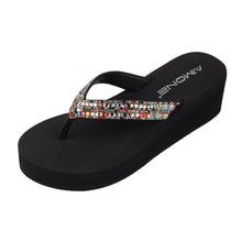 AIMONE Sigrid Summer Multicolor Rhinestone Wedge Sandals Women Flip Flops Beach Sandals Shoes Casual Sandals Womens Ladies Shoes bohemian sandals for women wedge shoes crystal decoration grey army green shoes ladies cute casual shoes rhinestone sandals