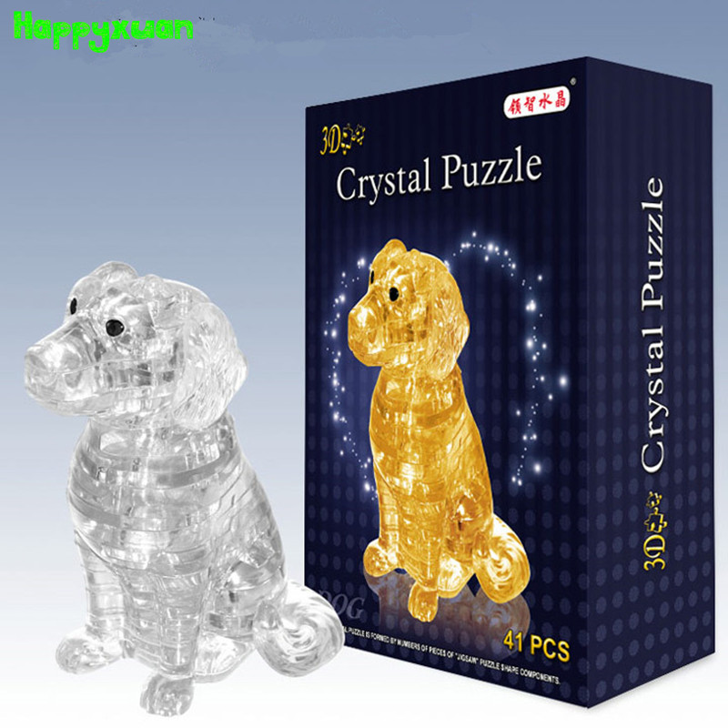 Happyxuan Dog Plastic DIY 3D Jigsaw Crystal Puzzle Educational Toys or Home Decoration Birthday Gif t for Children