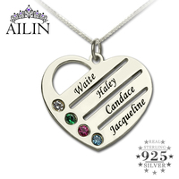 Wholesale Family Necklace Mom Necklace With Kids Names Engraved Heart Mother Necklace Silver Birthstone Jewelry For