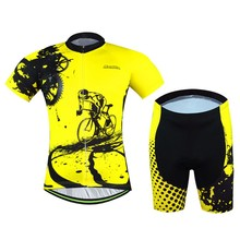 2016 Factory Direct Sale Quick Dry Aogda Men Bike Clothing Suits Yellow Cycling Jersey Bicycle Wear