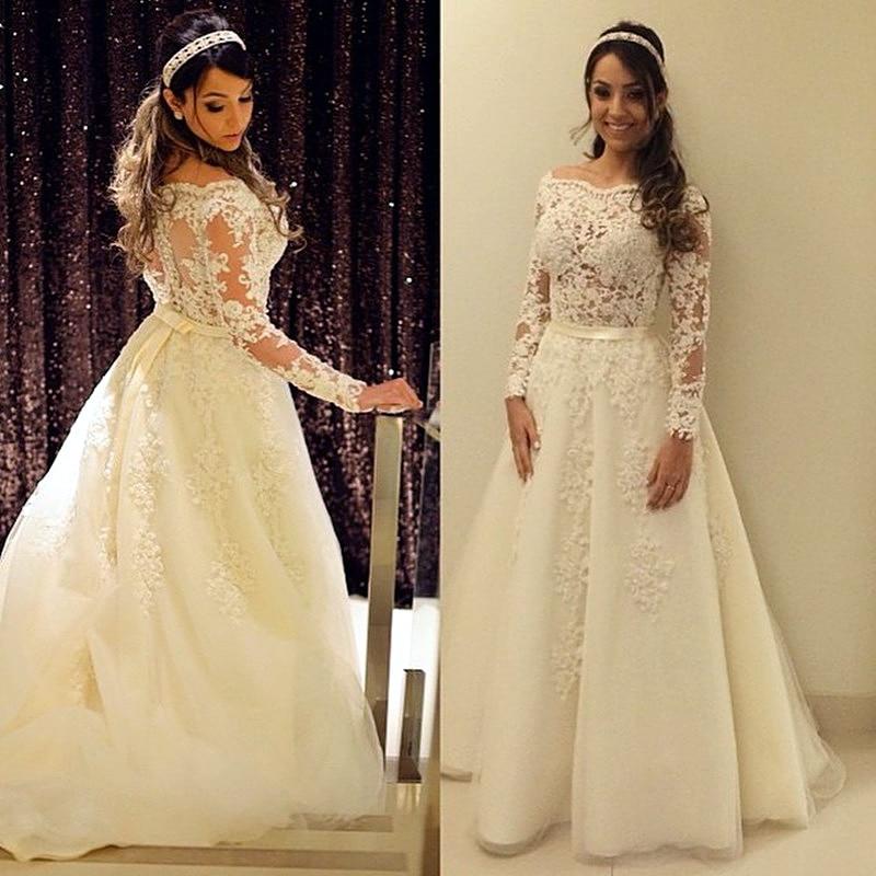 Long Sleeve Wedding Dress Affordable : Long sleeve wedding dresses cheap bridal gown dress
