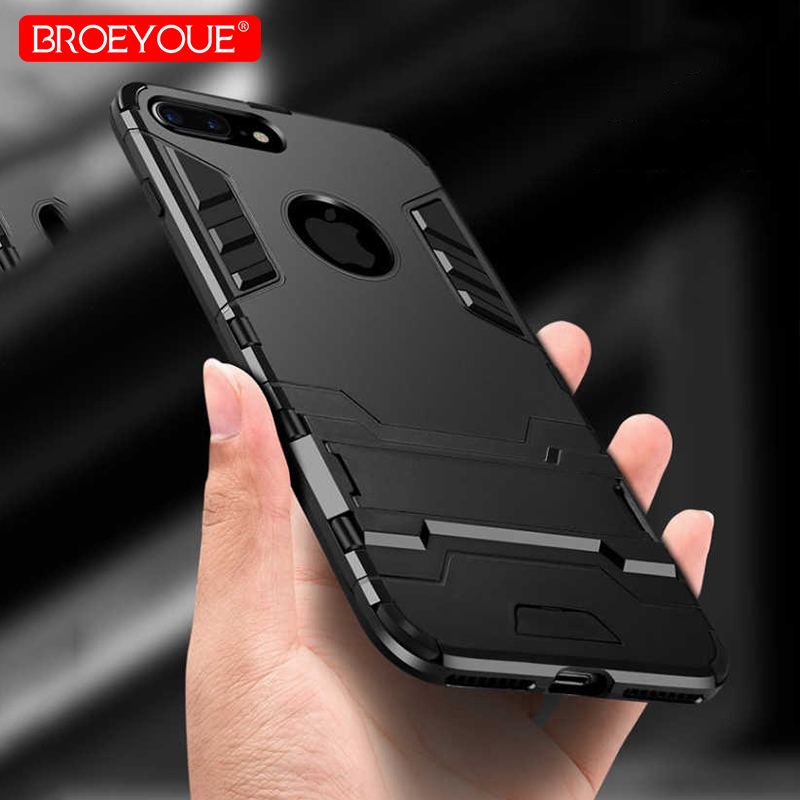 BROEYOUE Armor Case For iPhone 5 5S SE 6 6S Plus 7 8 X Hybrid Silicone Hard Iron Man Rubber Protective Phone Back Cover