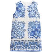 Платья девочек детская одежда 2015 осень зима девушки платье детская одежда роскошные синий рисунок дети платье принцессы девушки 3-16Y