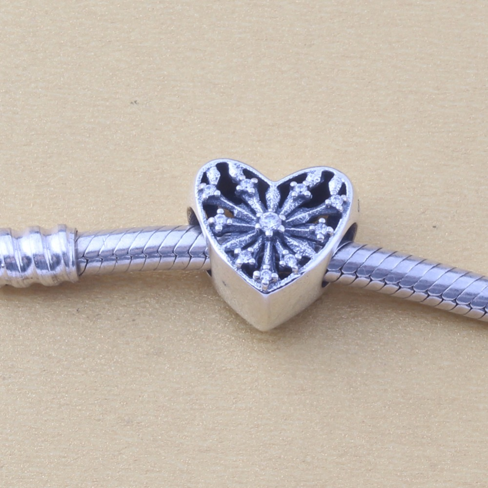 ZMZY Original 925 Sterling Silver Charms Heart of Winter Snowflake Clear CZ Beads For Pandora Charm Bracelet Making Accessories