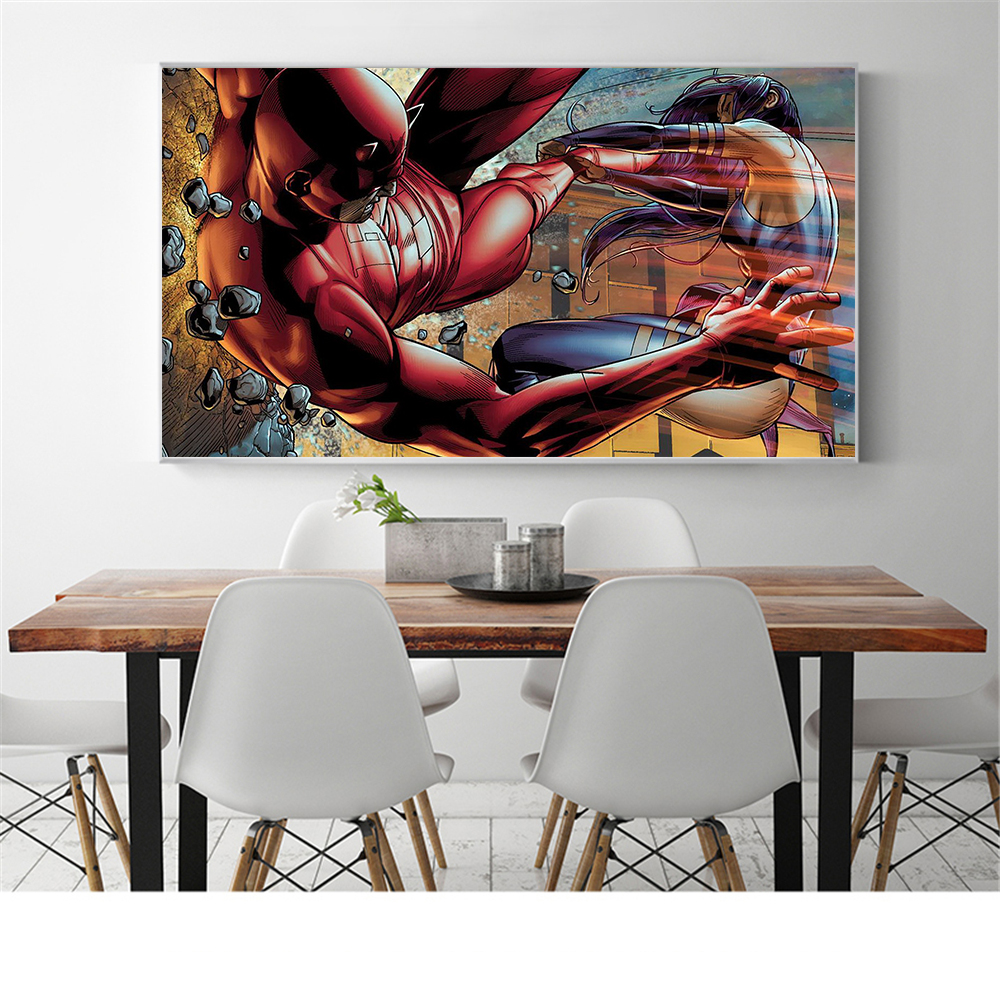 Movie Poster Daredevil Superhero Daredevil Elektra Natchios Canvas Wall Pictures for Living Room Oil Painting decor Cuadros