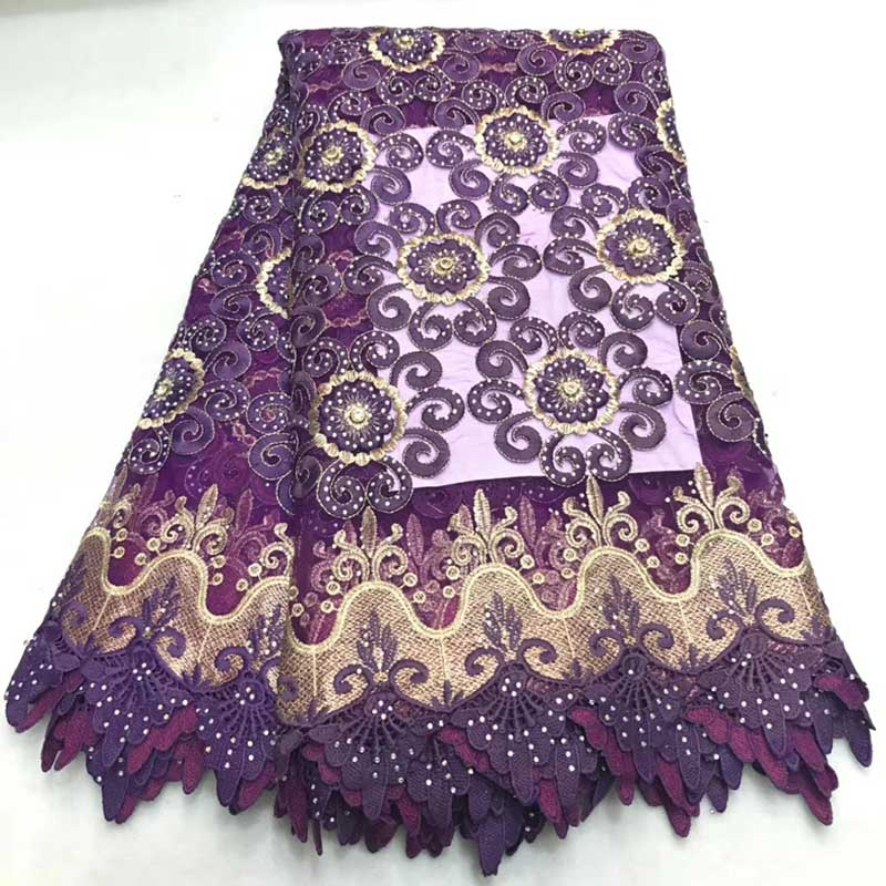 Purple African Lace Fabric 2018 High Quality Swiss Voile Lace Nigerian Fabric With Stones Embroidery French