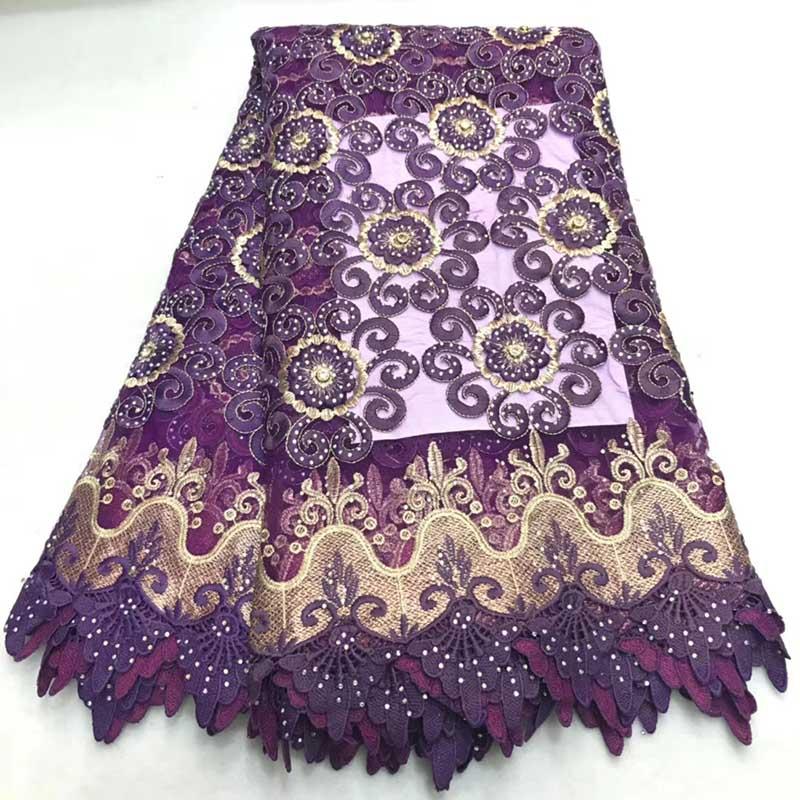 Tela de encaje africano púrpura 2018 tela de encaje de gasa suiza de alta calidad nigeriana con piedras bordado de tela de encaje de tul francés-in encaje from Hogar y Mascotas    1