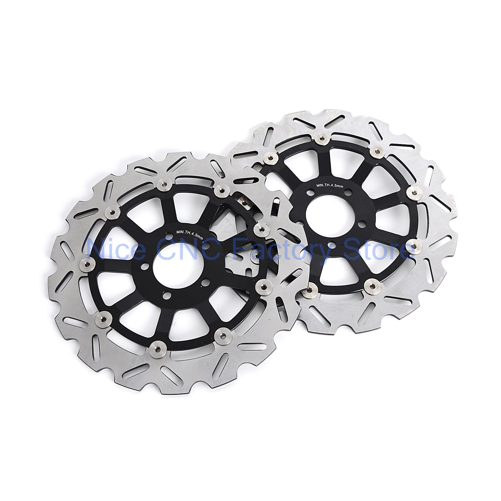2 Pcs Motorcycle Floating Front Brake Disc Rotor For Kawasaki ZXR750 H1-H2   ZX9R ZR1100 ZZR1100 ZRX1100 ZX1200 NEW цены онлайн