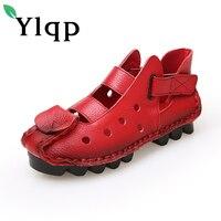 Ylqp Women Genuine Leather Sandals Summer Cowhide Shoes Ladies Chaussure Femme Vintage Casual Novelty Flats Sandal