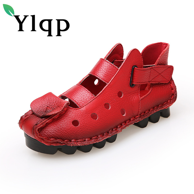 Ylqp Women Genuine Leather Sandals Summer Cowhide Shoes Ladies Chaussure Femme Vintage Casual Novelty Flats Sandal Zapatos Mujer summer sandals women clogs beach slipper women shoes casual sneakers women flats sandals ladies shoes zapatos mujer
