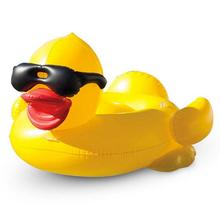 Large Inflatable Yellow Duck Floating Bed Sunglasses Duck Mo