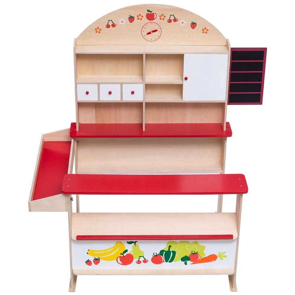 Puesto de mercado de juguete para ninos Tienda de juguete de madera maciza HW55444 razones para desconfiar de tus vecinos