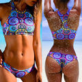 2016 new High neck Sexy e Thong bikini set bandage women push up Low waist Swimwears swimsuit bathing maillot de bain