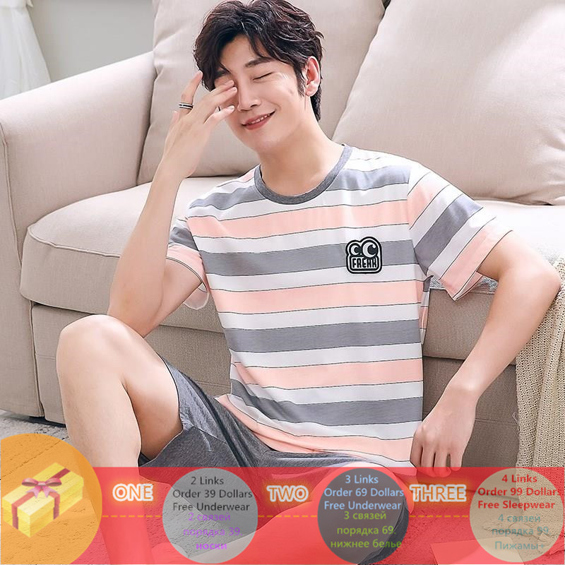 Summer Knitted Cotton Striped Pajama Sets Men's Sleep&Lounge Pijama Hombre Pyjamas Mens Pajama Sleepwear Men Nightwear Homewear