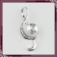 Ladies Romantic Music Notation 925 Sterling Silver Pendant fashion jewely pendant fittings 5pcs
