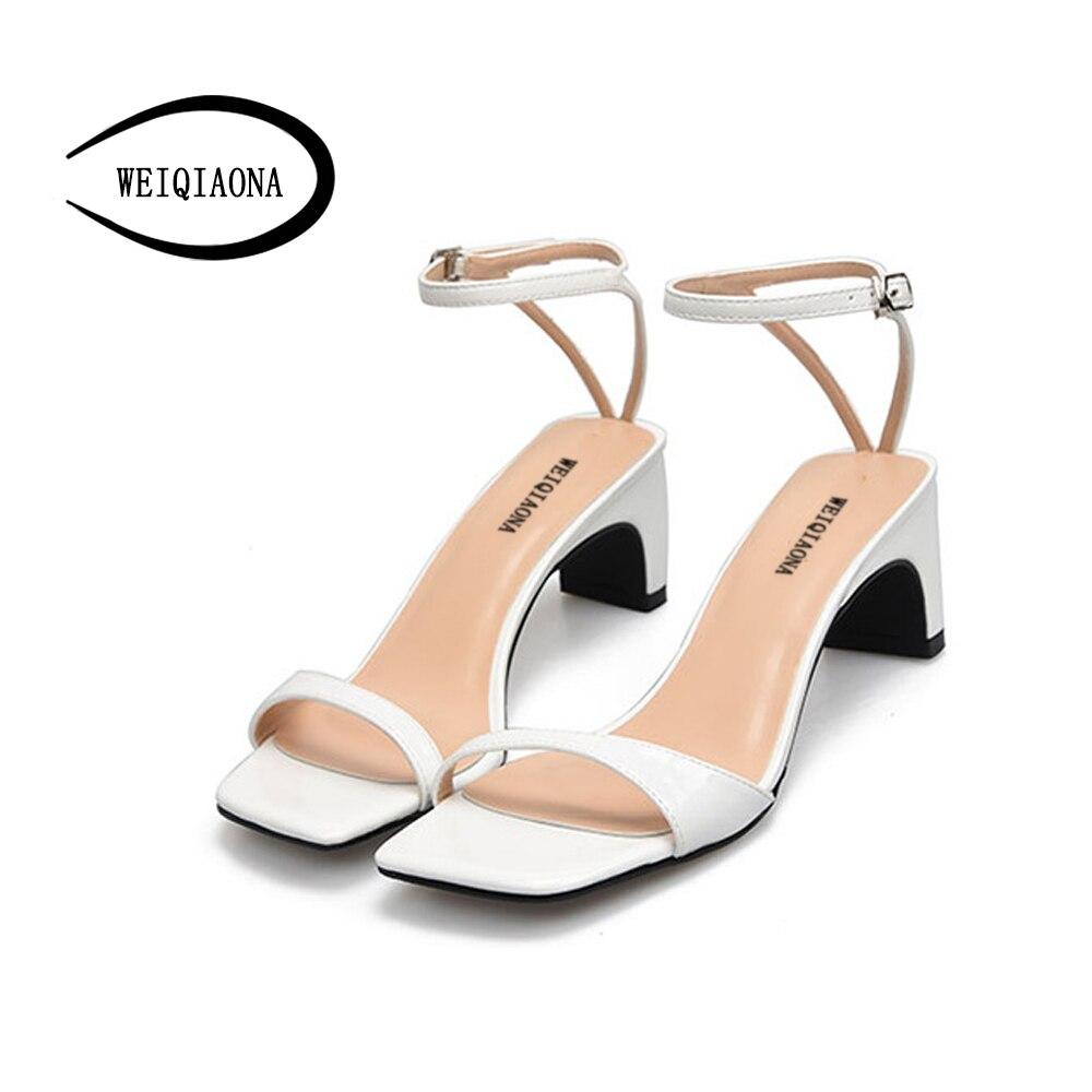 WEIQIAONA grande taille 42 bride à la cheville mi-talons femmes sandales d'été chaussures femmes bout ouvert Chunky talons hauts robe de soirée sandales