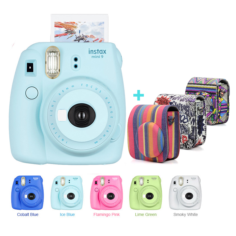 New 5 Colors Fujifilm Instax Mini 9 Instant Photo Film Camera Kit with Canvas Carrying Case Shoulder Strap, Use Instax Mini Film new 5 colors fujifilm instax mini 9 instant camera 100 photos fuji instant mini 8 film