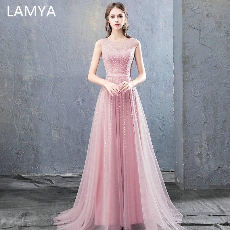 LAMYA 2019 nouveau arrivé Court Train perles robes de soirée élégant O cou personnalisé robe de bal de mode Vestidos de Festa