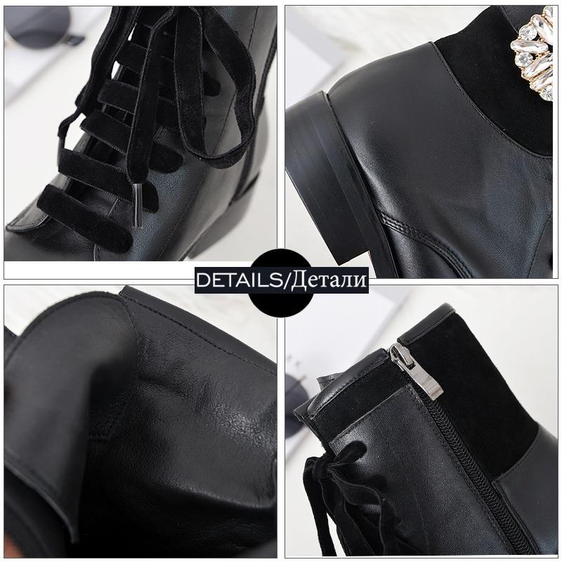 Boot Moto Cuir Véritable Cheville Liée Chaussures Black Li Rond Li Bottes black Femmes Nouveau Mao Wetkiss Femelle Femme Dan En Bout Talons Bas Croix De Cristal ETdwca