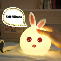 Cute Rabbit LED RGB Night Light Control Silicone Touch Sensor Children Baby Bedside Lamp Children S