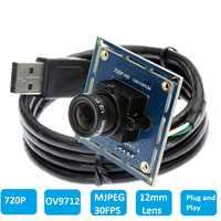Elp ov9712センサー1.0Megapixel12mmレンズhd cmosミニカメラボードusbウェブカメラhdアンドロイドモジュールカメラusb 2.0 ELP-USB100W03M-L12