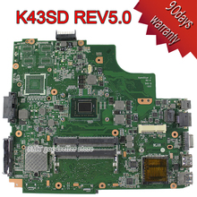 For ASUS A43e P43E K43E Motherboard K43SD REV5.0 Mainboard With i3 Processor 100% tested OK
