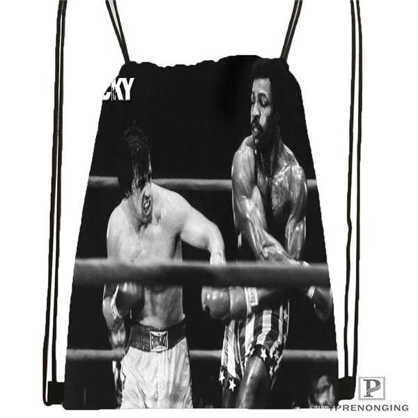 Custom Rocky-montage   Drawstring Backpack Bag Cute Daypack Kids Satchel (Black Back) 31x40cm#20180611-02-91