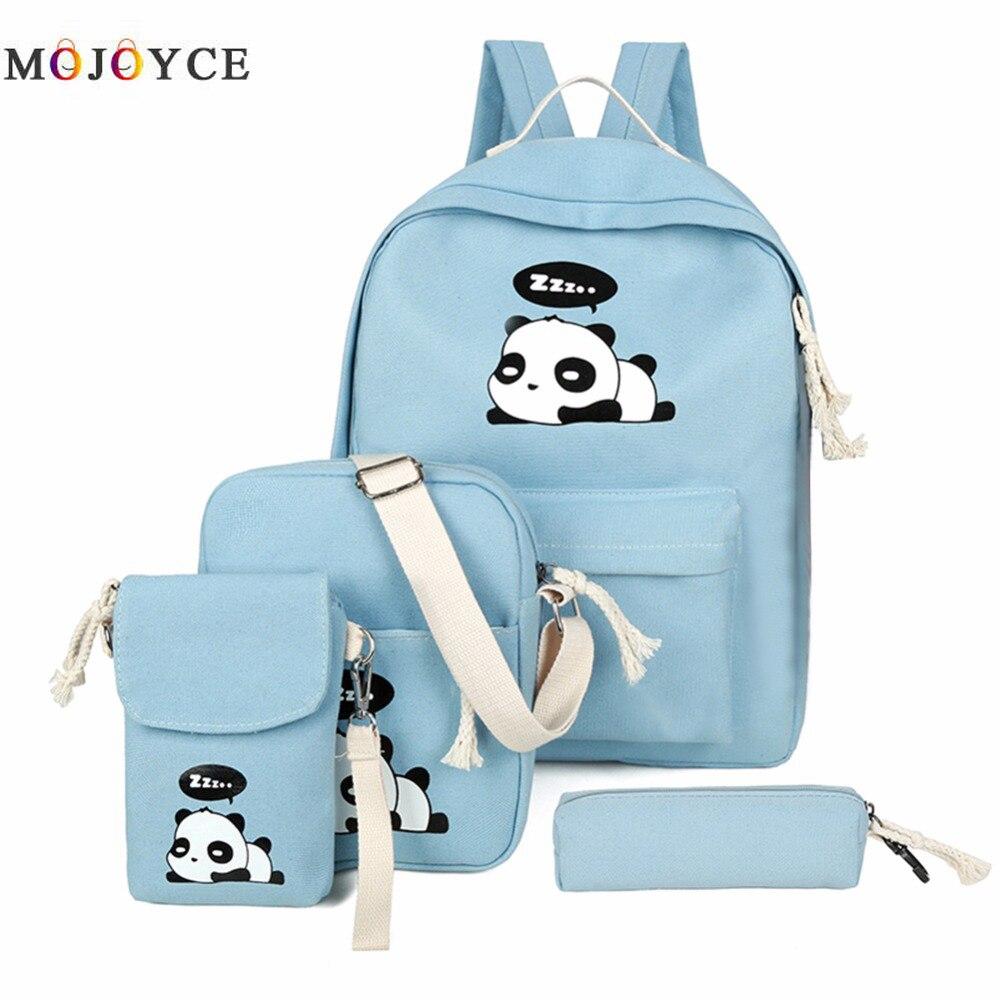 4pcs/Set Canvas Women Backpack Girls Cute Panda Print Student School Backpack Shoulder Teenagers Book Bagpack Mochila Feminina