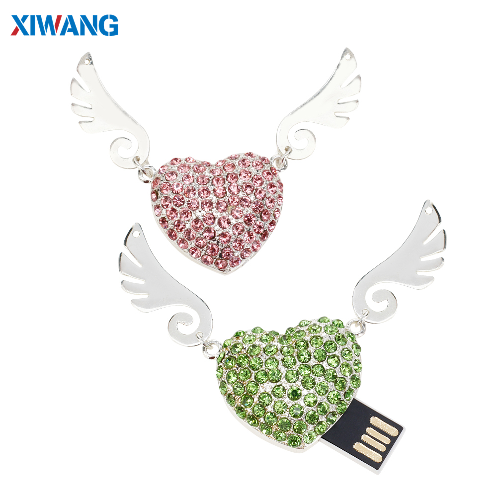 Image 3 - Crystal Necklace Heart USB Flash Drive 64GB 32GB Pen Drives 128GB 16GB 8GB 4GB USB 2.0 Pendrive Jewelry Memory Stick Girls Gift-in USB Flash Drives from Computer & Office