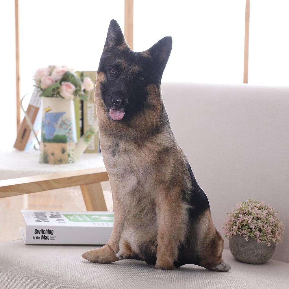 Candice Guo! Cute Plush Toy 3D Emulational Shepherd Dog Spotty Puppy Soft Cushion Printing Sofa Pillow Creative Birthday Gift 1p