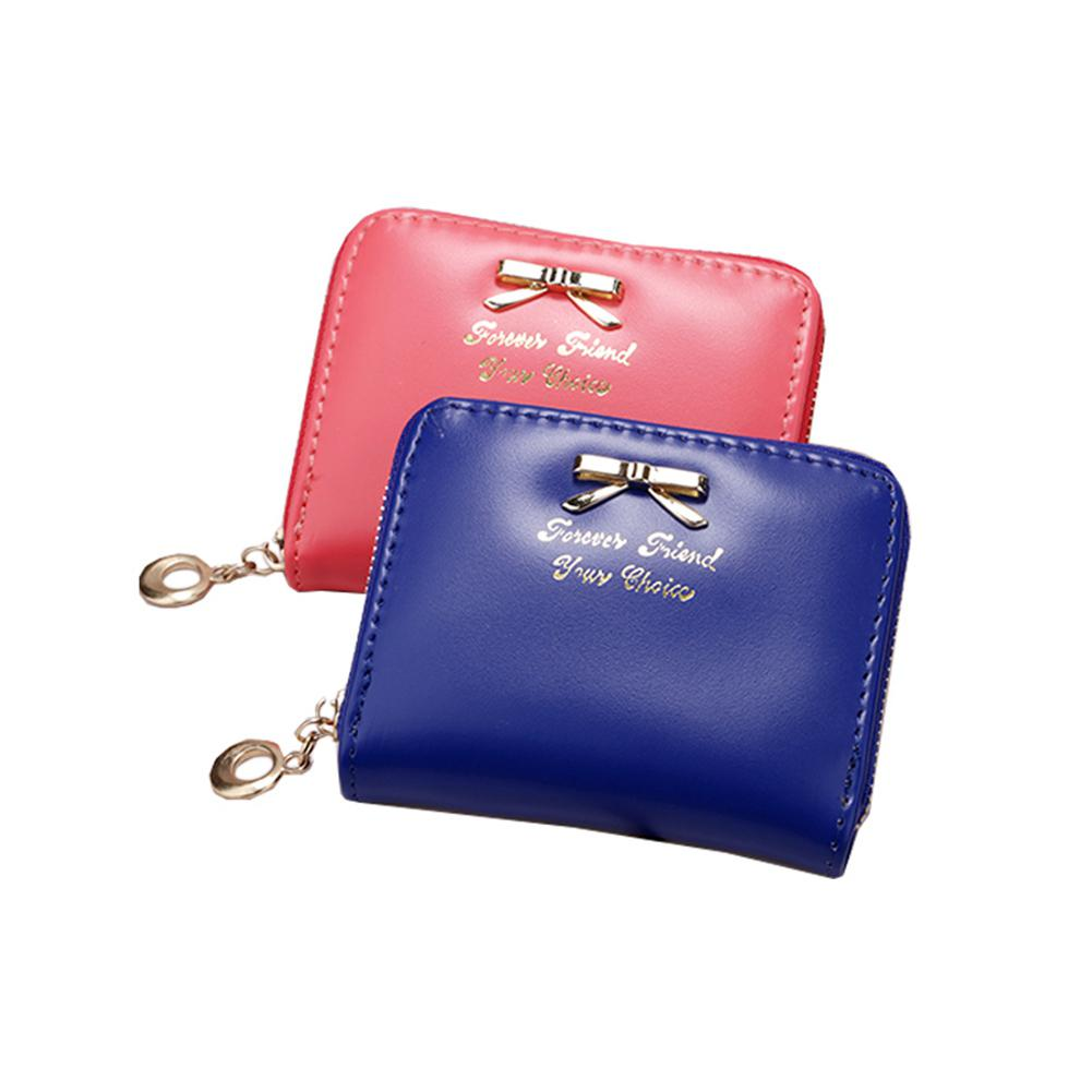 PinShang Women Wallets Simple Short-style Clutch Bag Bowknot Decoration Zipper Handbag Purses And Wallets Wallet Women ZK40