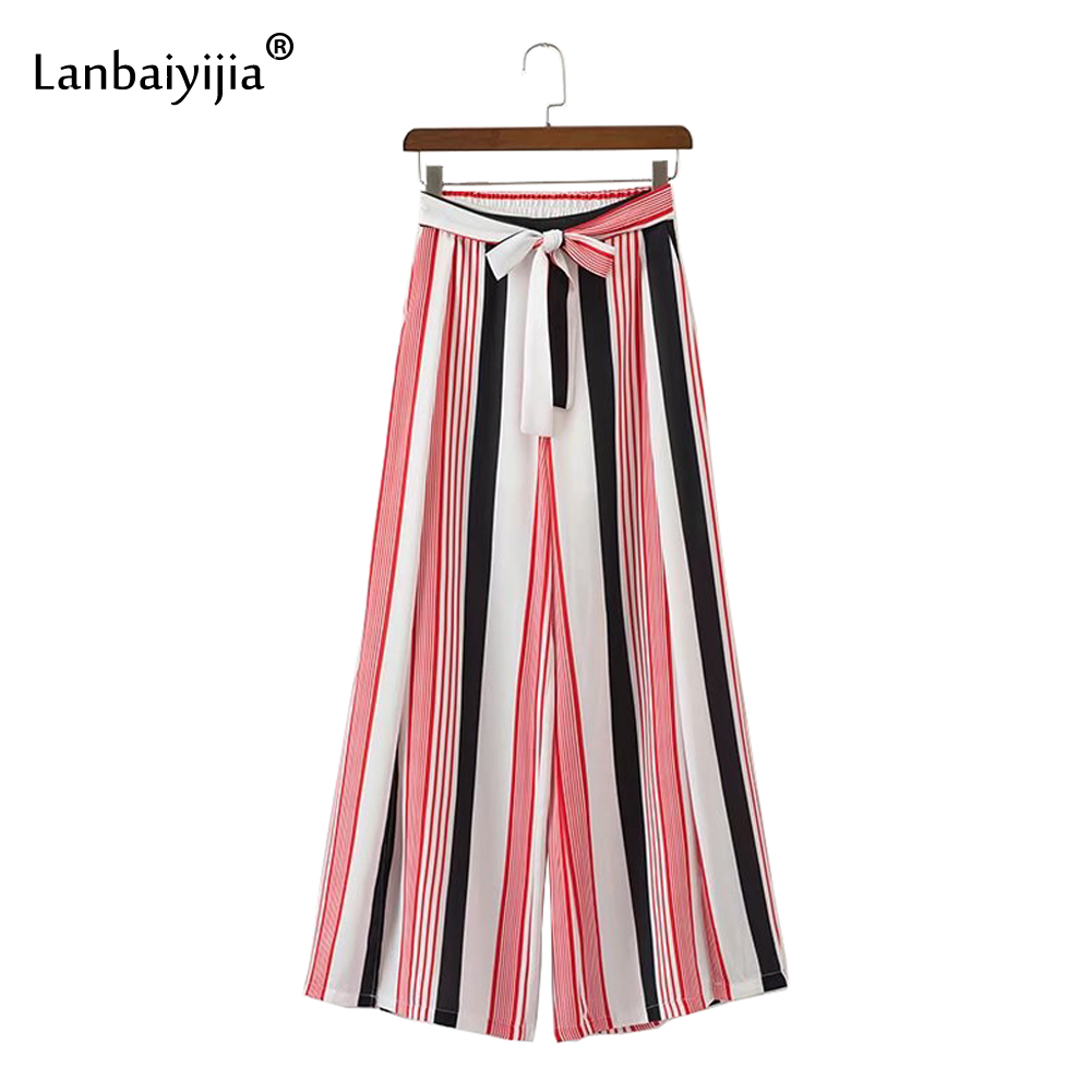 Lanbaiyijia Women elegant color striped wide leg pants bow tie sashes elastic waist summer trousers loose women pants Size S M L