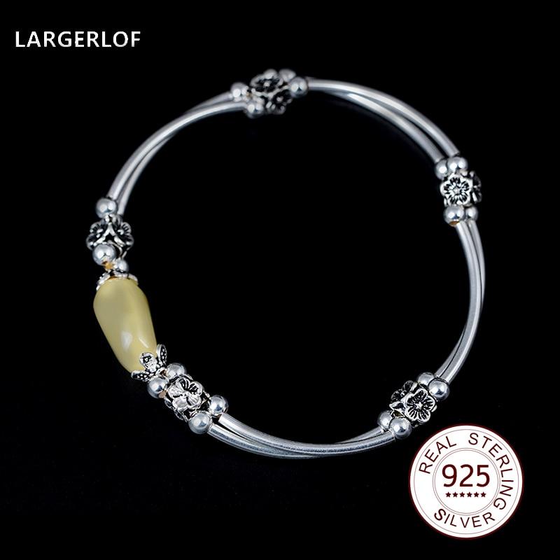 LARGERLOF 925 Sterling silver Bracelets Amber Bracelets Fashion Chain Bracelets For Women BR14028 bracelets