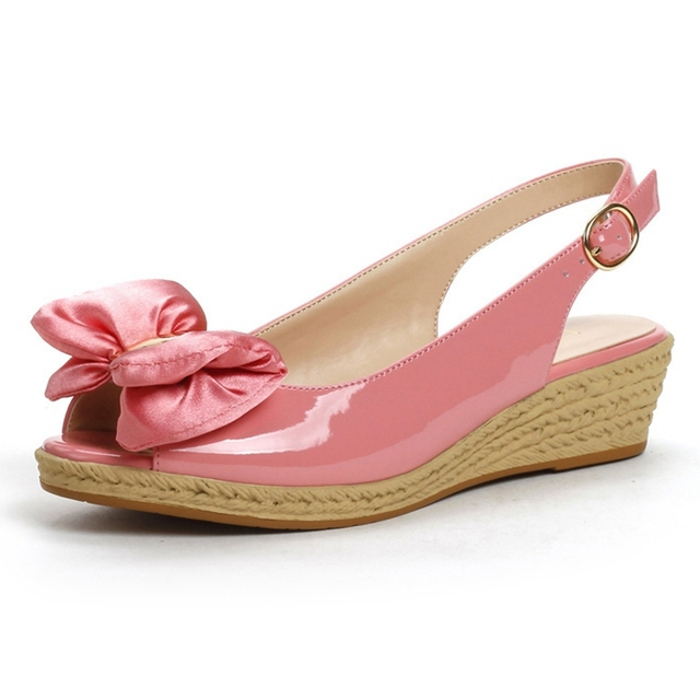 9e7710679dd Summer sweet Wedge sandals medium heel shoes comfortable fish mouth bowknot  woven texture bottom pink black