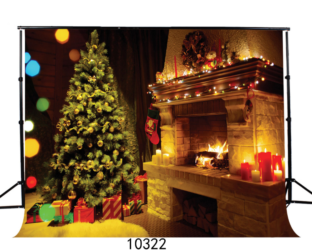Christmas Gifts Fireplace Vinyl Backgrounds for Photography Computer ...