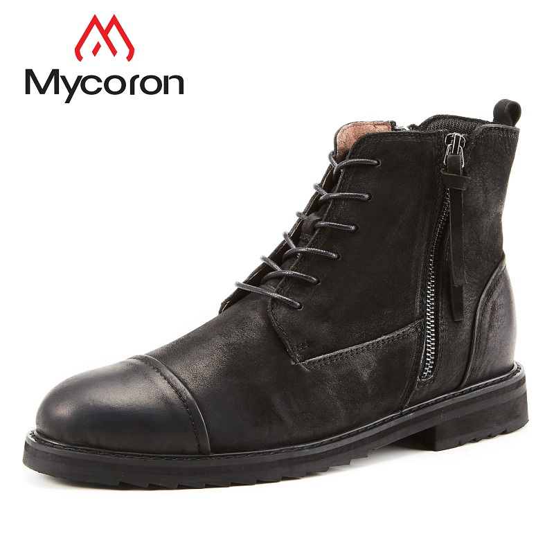 все цены на MYCORON New Arrival Autumn Winter BootsLuxury Brand Top Fashion Men Leather British Style Fashion Male Work Boots Laarzen Dames онлайн
