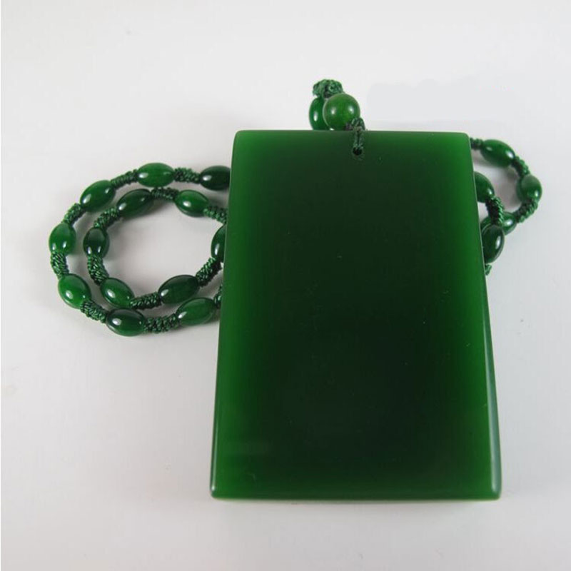 Natural hetian jade jade green jade safe pendant necklace pendant Christmas card women sweater chain