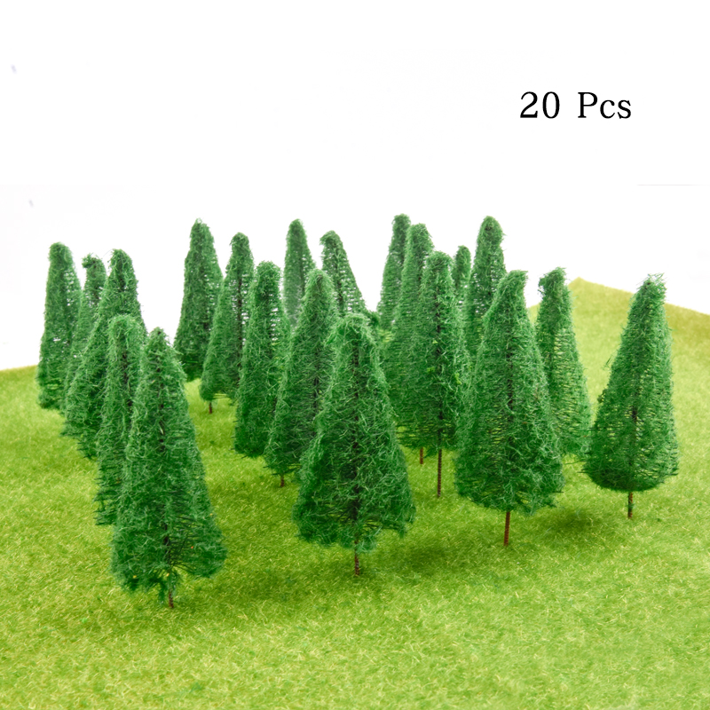 20pcs 1/100 Scenery Landscape Model Cedar Trees Railroad Layout Landscape Scenery Diorama Miniatures