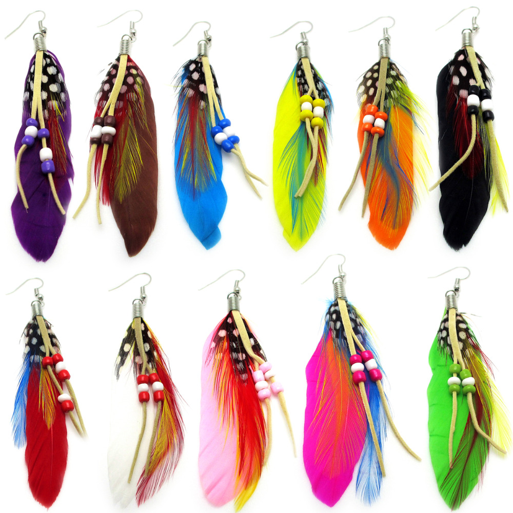 66 Pair 11 color Fashion Summer Style Drop Earrings Woman Dangle Earrings Fashion Ethnic Colorful Natural