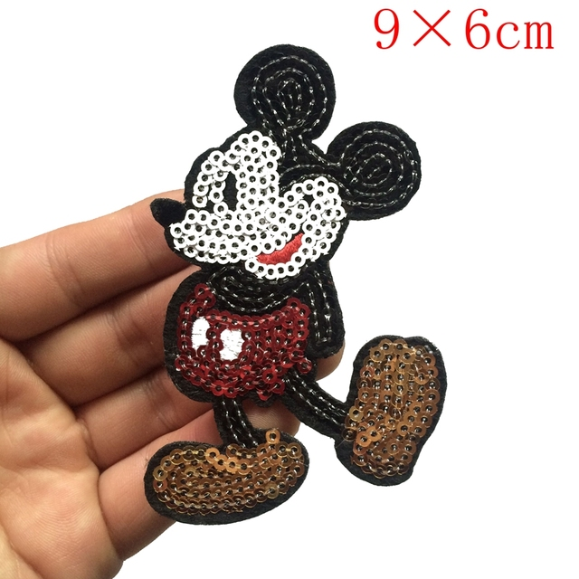 2PC Sequins patch Cartoon characters Clothes Iron-on embroidered patch motif applique deal with it clothing free shipping