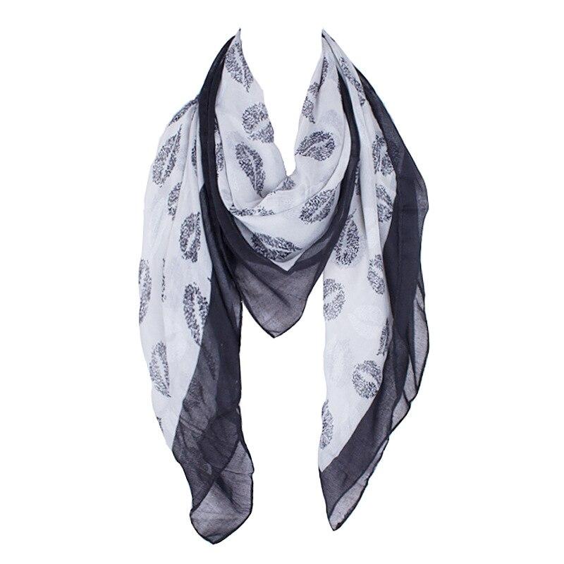 2016 New Design Polyester Women Square   Scarf     Wrap   Foulard Black Lips Print   Scarf   Big Size   Scarves